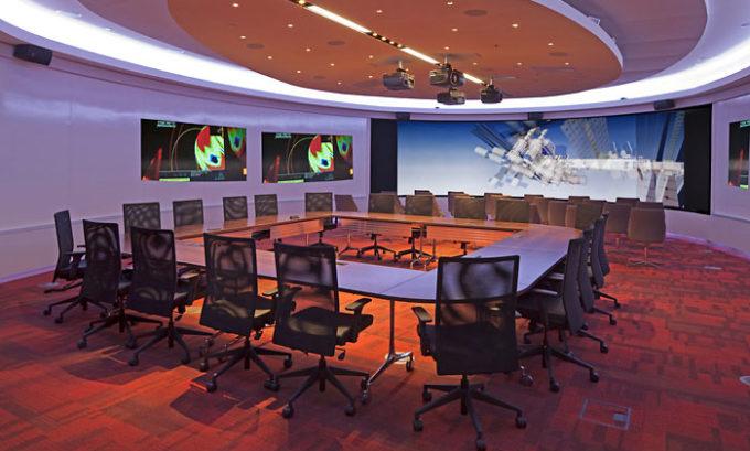 Meeting room presentation projectors Metro State Student Success Building